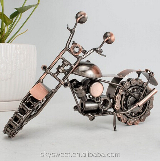 2016 Amazon hot iron metal boys gifts & craft,modern chain wheels motorcycle home decor(PR314)