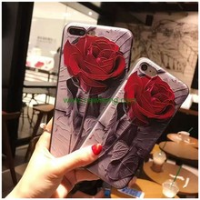 Girl Fancy Embossed Relief Painting Rose Flower Soft TPU Phone Case for iPhone 7 plus