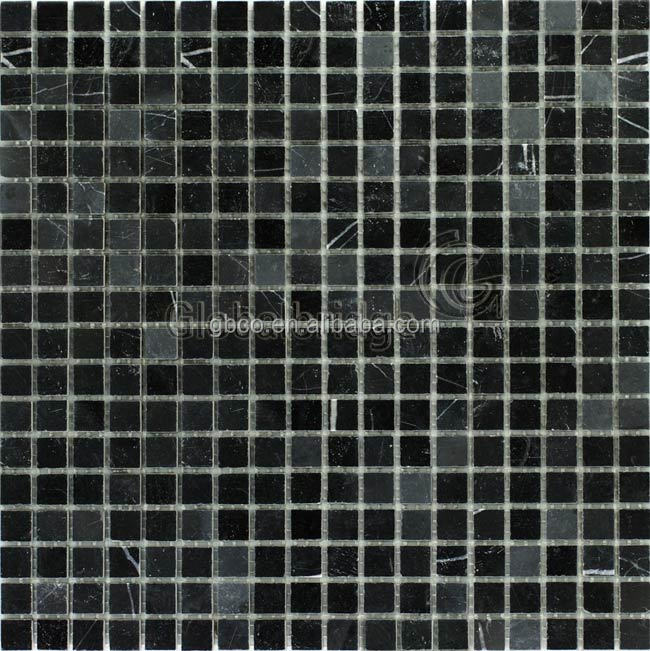 Marble floor tiles black stone mosaic polish stone tiles wall mosaic