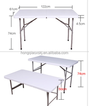 2017 Hotsale 122cm 4ft portable folding in half table height adjustable table camping barbecue outdoor use plastic folding table