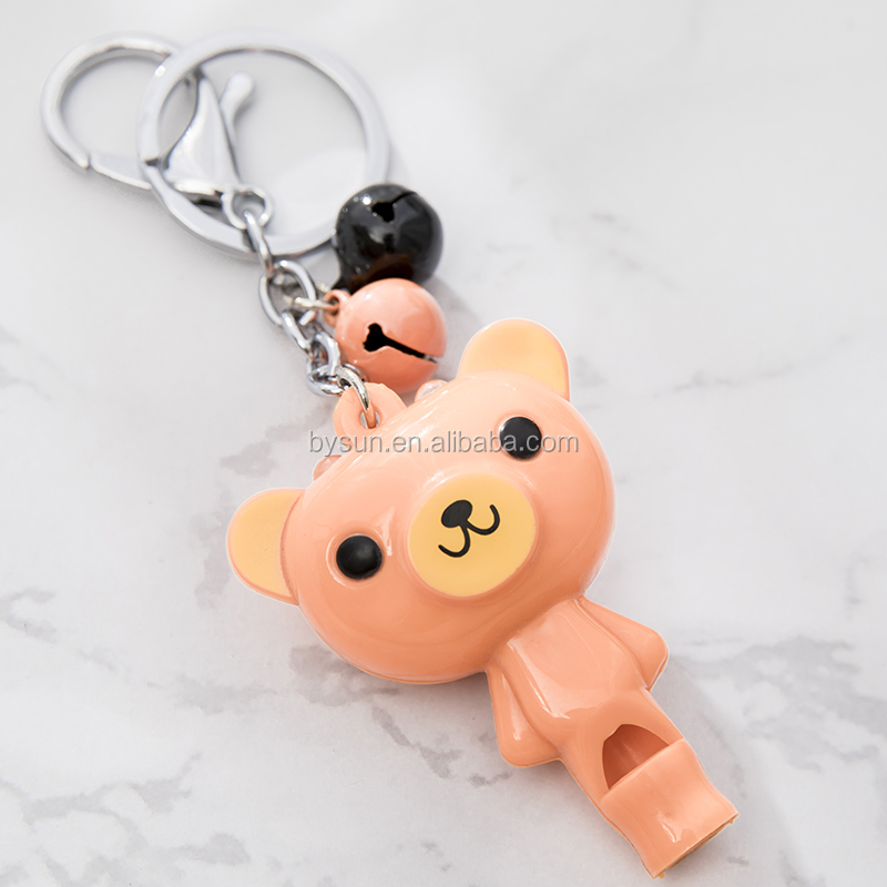 BS-013A Bysun Plastic Bear whistle led keychain with bell bag accessories key holder