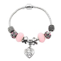 Pink Breast Cancer Ribbon Charm Beaded Bracelet With Heart Dangling Charm PB0057