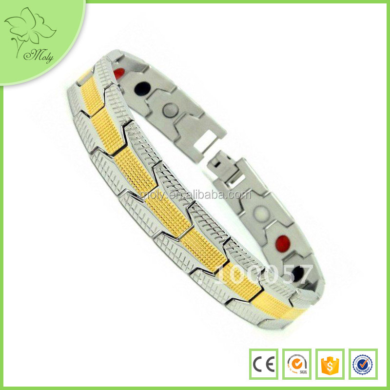 2015 Fashion Bracelet 316 Stainless Steel Gold Bracelet Jewelry Magnetic Bracelet Models for Men