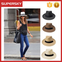 C1028 Hot Sale Unisex Summer Trilby Fedora Panama Straw Wide Brim Ribbon Beach Cap Sun Hat