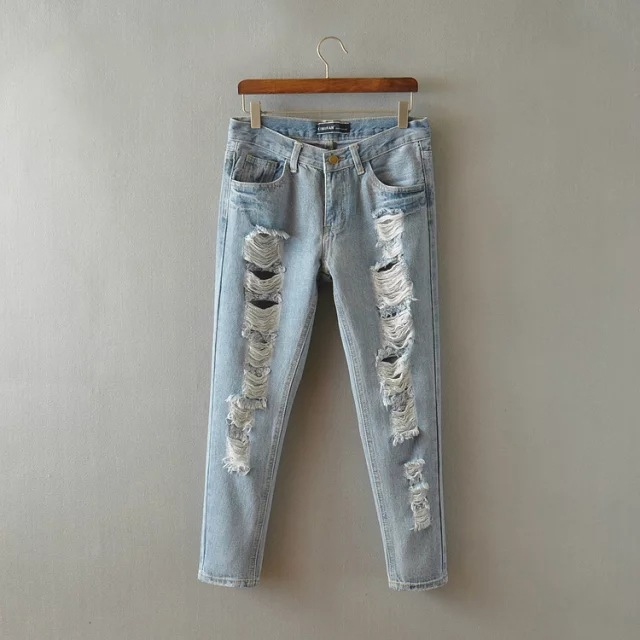 ZH0102E Sexy light blue ripped lady cropped jeans
