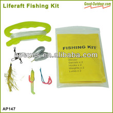 Lightweight and compact liferaft fishing kit