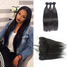 lace frontal with bundles 100% human hair extensions indian straight hair with closure