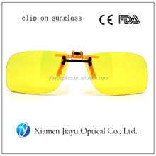 yellow color polarized clip on sunglass