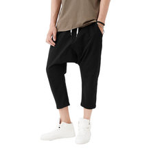 Mens Cropped Trousers Black Cotton French Terry Drop Crotch Harem Jogger Pants Men