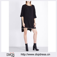 Wholesale Ladies Apparel Boat Neck Mid-sleeves Steped Hem Loose-fit Crepe Dress(DQE0307D)