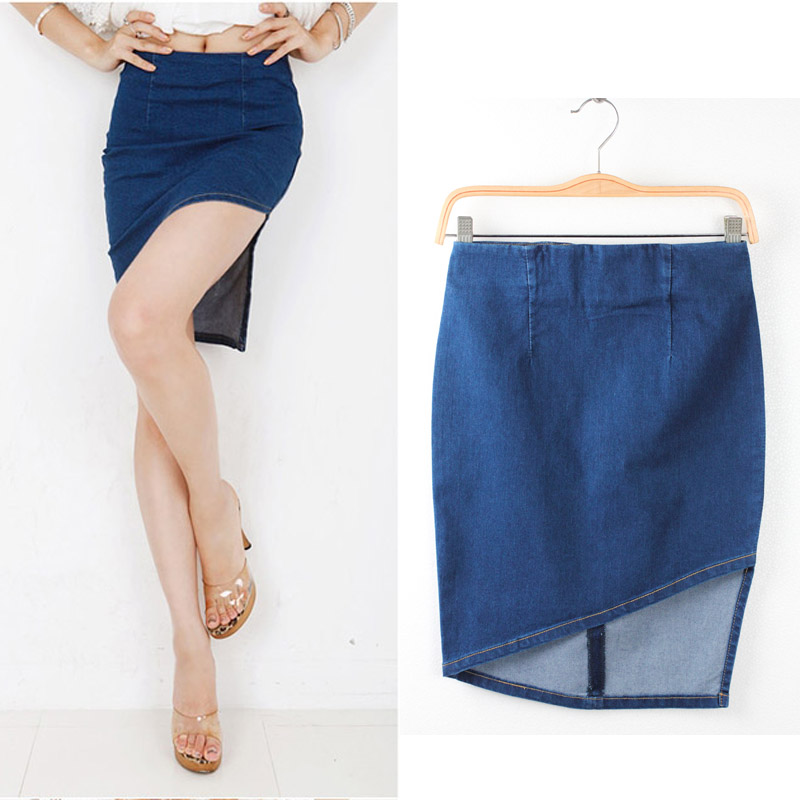32155a592a1 High Quality Skirt Women 2015 Summer Korean Style Fashion Package Hip  Asymmetrical Blue Denim Jeans Skirt