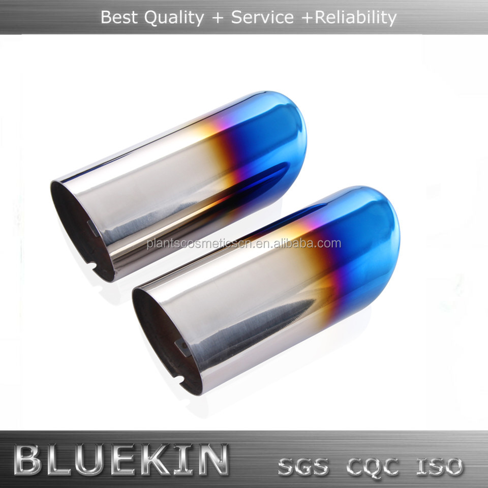 high quality stainless steel bule burnt single exhaust tip muffler