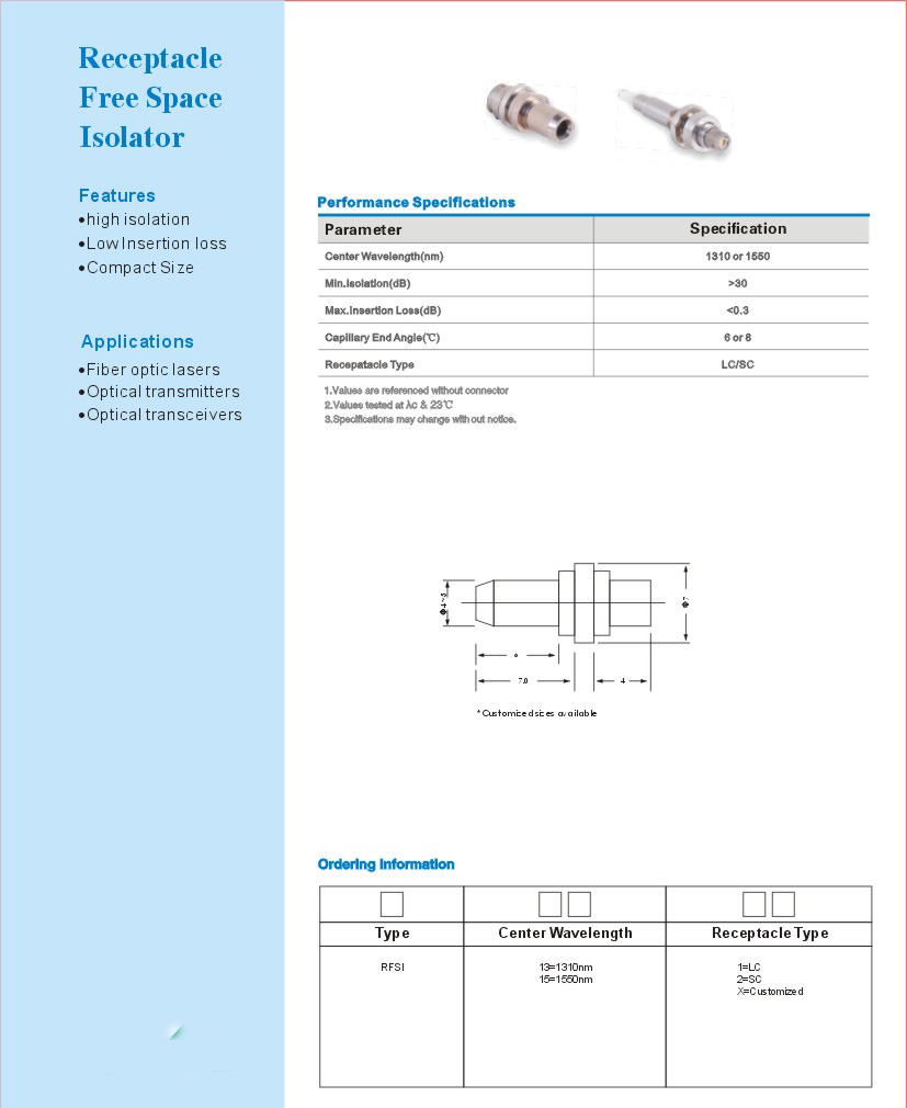 Tunable Optical Isolators Optical Passive Components for FTTH FTTB FTTX Network