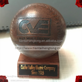 75mm dark brown wooden baseball, rubber wood ball with logo engraved or carved, big ball
