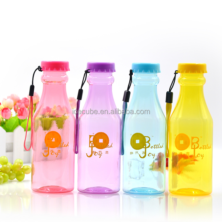 Korean Style Cute Transparent Coke bottle shaped soda bottles handle plastic water bottles