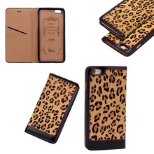 The Most Luxury Leopard Pattern Genuine Leather Flip Case Cover for iPhone 6s Plus with Card Slots Inside