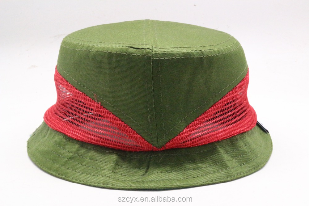 2016 New Hot Fashion Customized Cute Children AZO Free Mesh Military Green Bucket Hats Wholesale