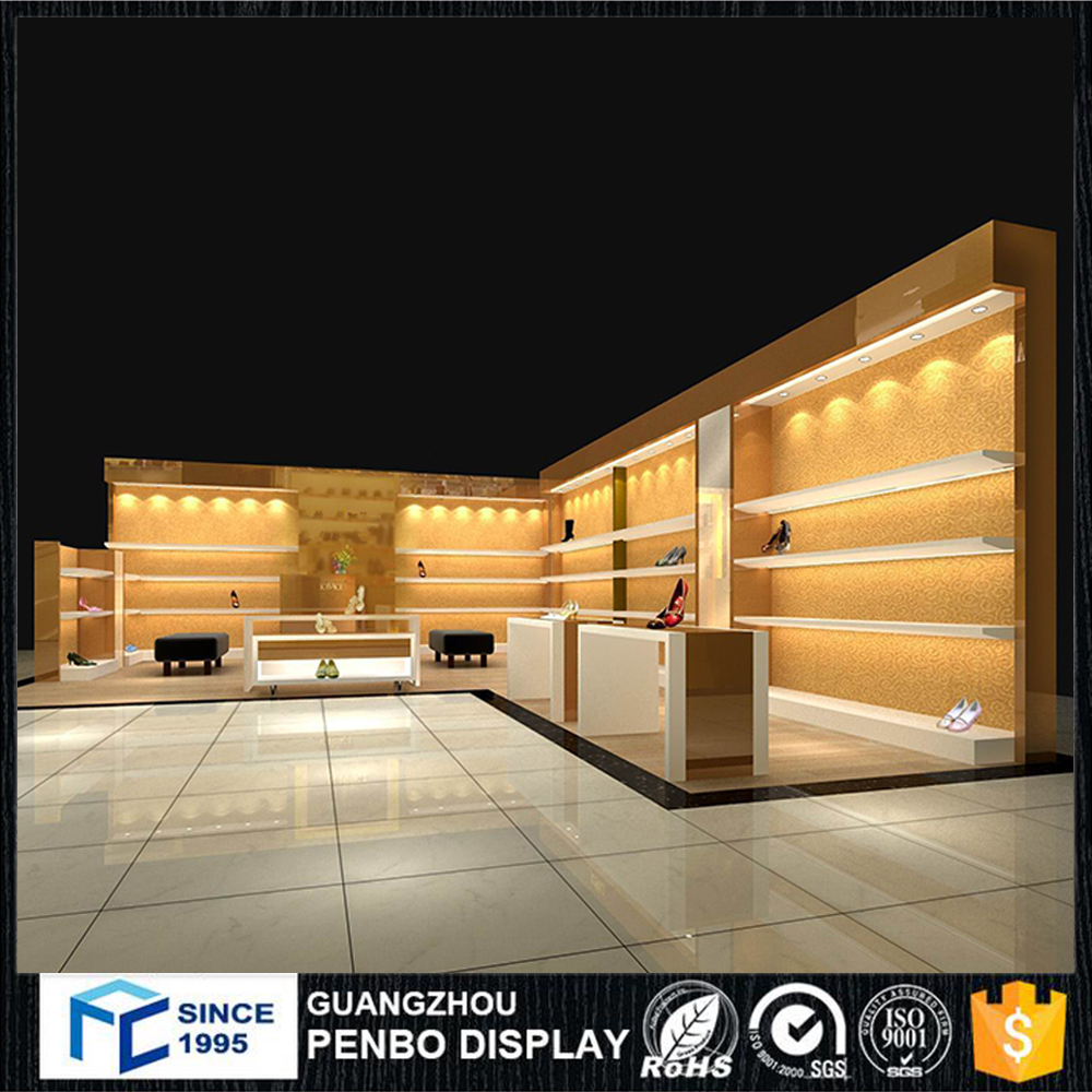 Wholesale commercial furniture customized MDF 3D shoe store design