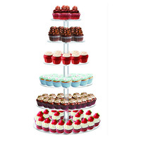 6 Tier Acrylic Wedding Cake Display Shelf Stand, Round Cupcake Stand Display Rack, Acrylic Birthday Party Cake Display Stand