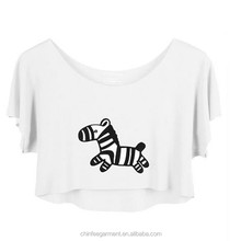 SWT003 Women Wholesale T Shirt Custom Printed Crop Top