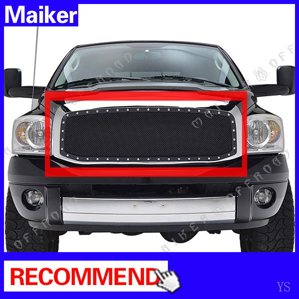 Black Stainless Steel Wire Mesh Grille For 2006 - 2009 Dodge Ram 1500 2500 3500 accessories