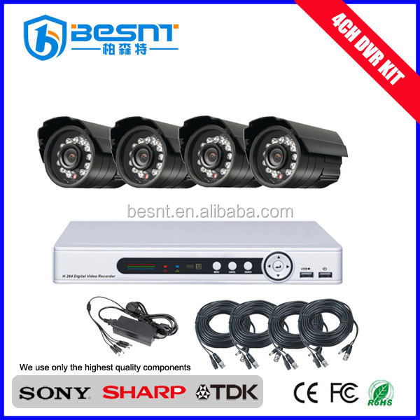 2015 New Product Security System H.264 waterproof home security 4ch dvr kit BS-T04M2