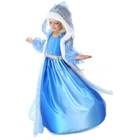 2015new comming Frozen elsa blue long dress, long tulle cloak with a hood, girls christmas perform dress