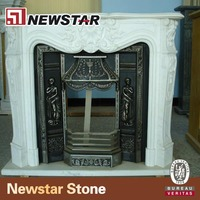 Newstar Polished Hand Carved Western Style White Marble Fireplace