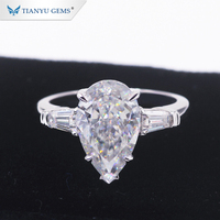 Tianyu Gems 14k/18k gold jewelry simple style pear shape ice-cut DEF VVS moissanite diamond wedding ring