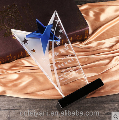 JB-095 crystal trophy plaque for custom logo award souvienir gifts glass crystal