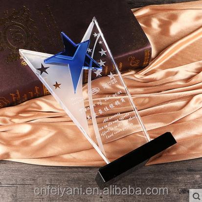 JB-095 crystal trophy plaque for custom logo award souvienir gifts glass crystal