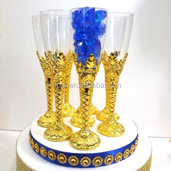 NEW Gold Champagne Flutes - Royal Prince Baby Shower Favors Theme or Wedding Party Decorations