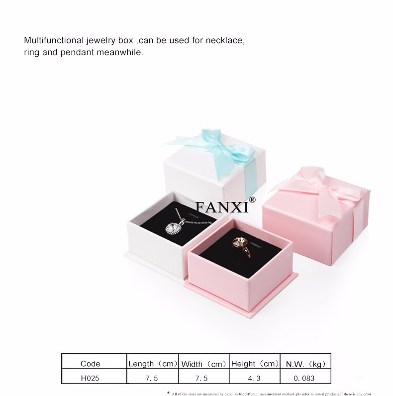 Wholesale custom China factory of cardboard packing box with silk ribbon and black foam with velvet insert paper jewelry boxes