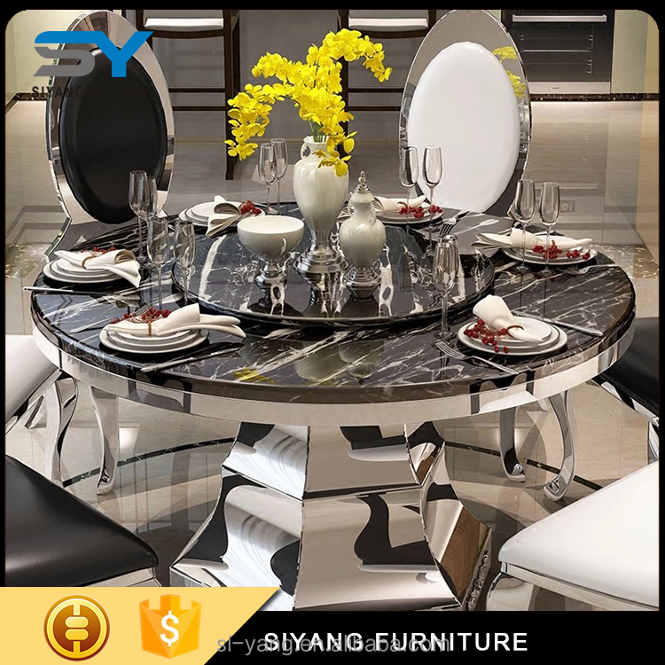2017 steel dinner table with marble top for sale CT013