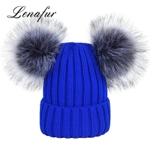 Attractive Design Funny Knit Winter Hats Russian Faux Fur Pom Poms Hat
