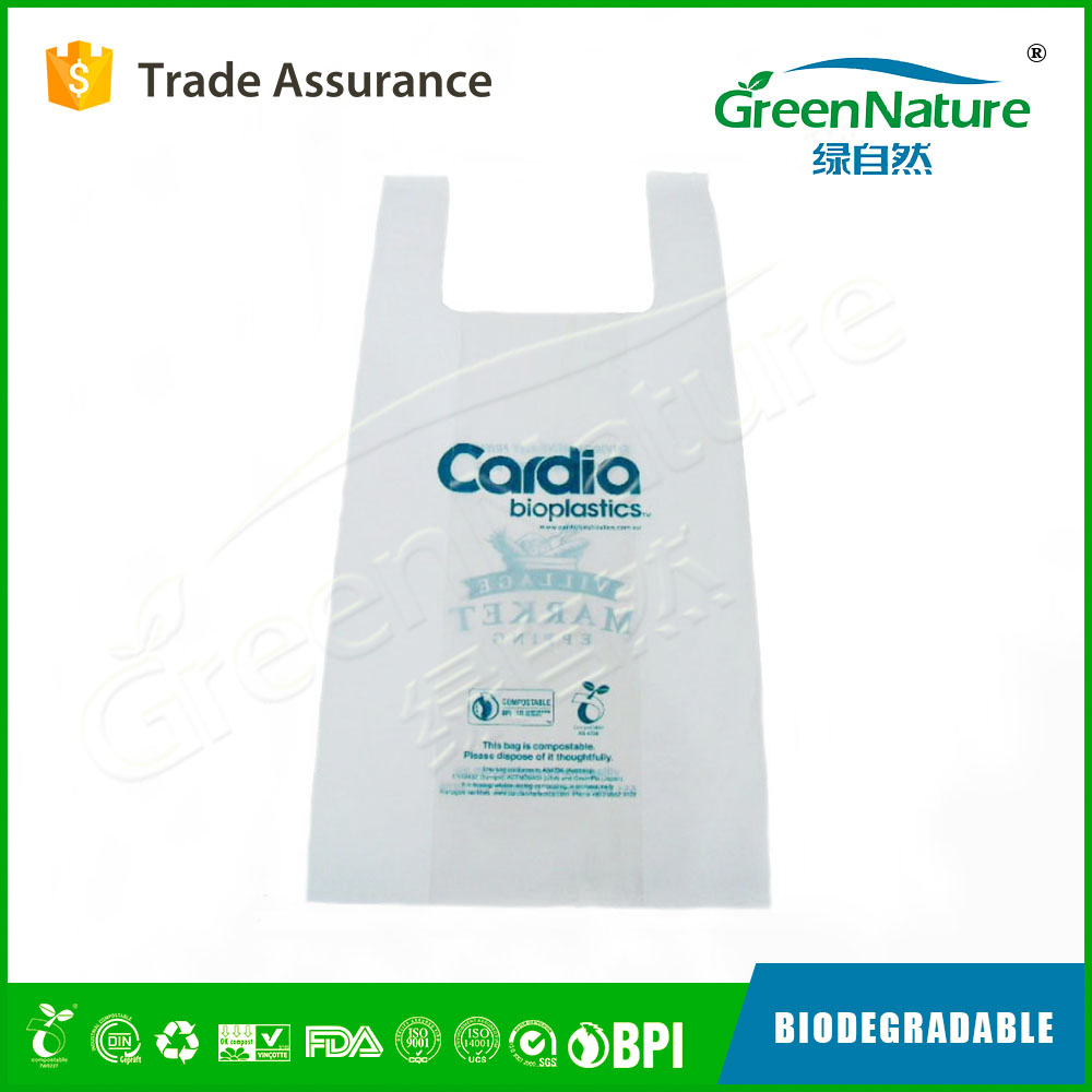 Manufacturer Supplier grocery plastic biodegradable plastic bag with EN13432 / BPI / OK compost home / ASTM D6400 certificates