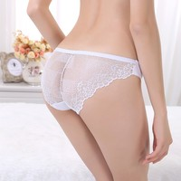 Anti-Bacterial Sexy Women Underwear Lace Transparent Lady Seamless Briefs Hot Sexy Girls Panty Photos