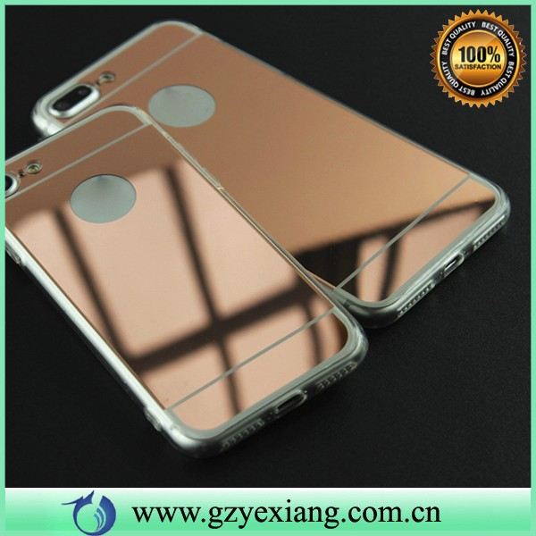 hot new product electroplate plastic mirror back tpu bumper case for iphone 7 plus cover