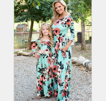 2019 NEW LONG Sleeve FLORAL Mom Daughter Dress Family Matching Outfit (this link for girls,1-8years)