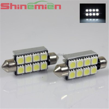 no polarity led car light 42mm canbus 5050 8SMD canbus led bulb for car