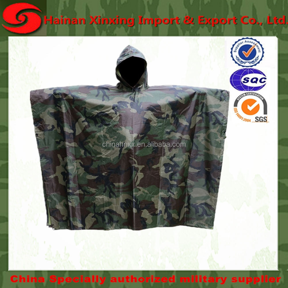 Military Poncho Rain Poncho Waterproof Ripstop Hooded Nylon Festival Poncho for Hunting Camping Military Uset