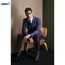 custom made to measure trendy office wearing business suit for men with plaid patterns