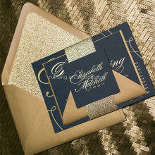 gold foil stamping navy blue card with gold writting for wedding invitations card