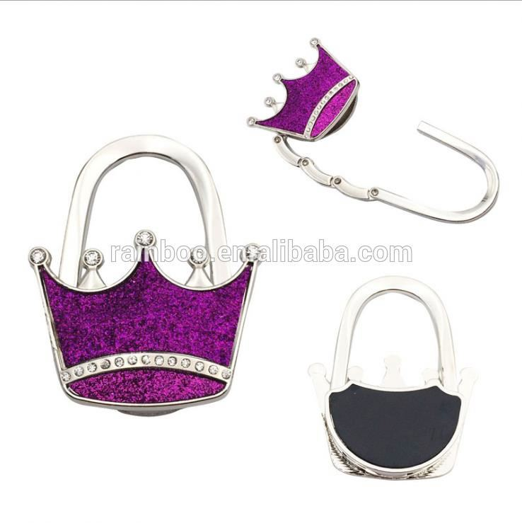 Fashion gift metal diamond foldable magnetic purse hook