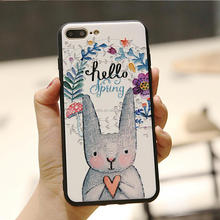 Fashion Cartoon Rabbit Bunny Flower Pattern Printing 2 in 1 TPU PC Case For IPhone X 6 7 8 Plus