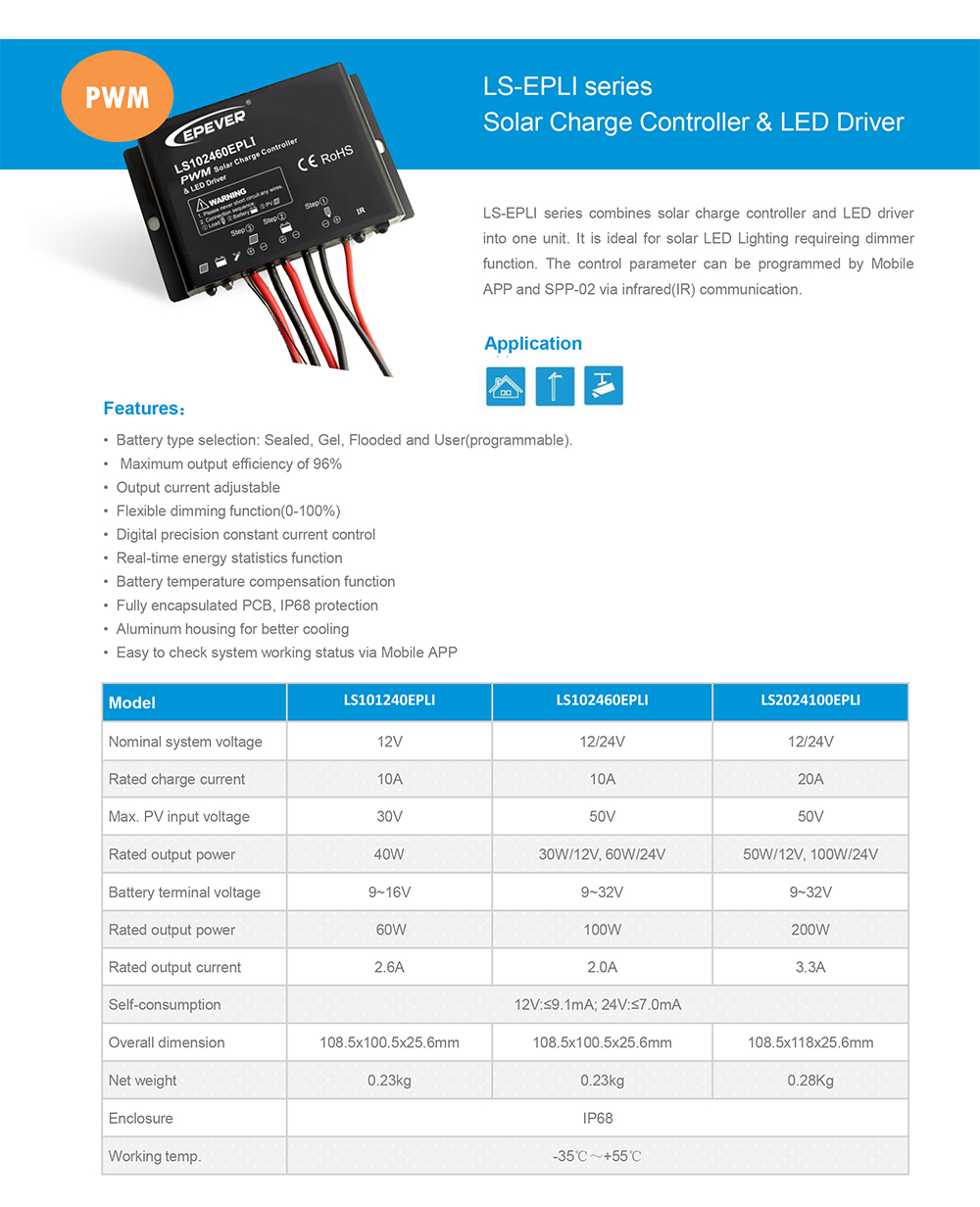 LS101240EPLI 12V/24V 10A /20A PWM solar street light charger controller with LED driver IR or APP control