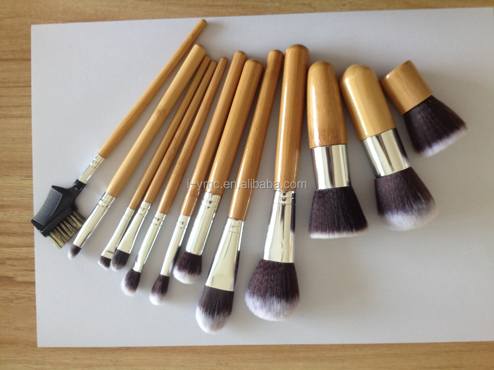 12 Pcs Professional Makeup Brushes Set Bamboo Handle Cosmetic Brush Brand Kits with case bag