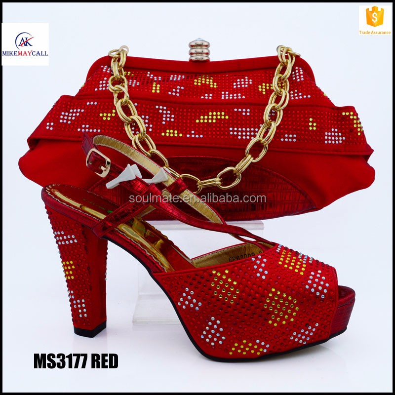 Luxury Hot red wedding party sets matching high heel crystal stones sandal shoes handbag