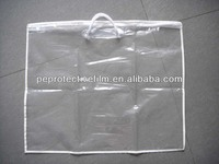 2016 Hot Sale Clear PE plastic zipper pillow bag with rope handles