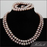 Famous 7 -8 mm purple real pearl indian jewellery set